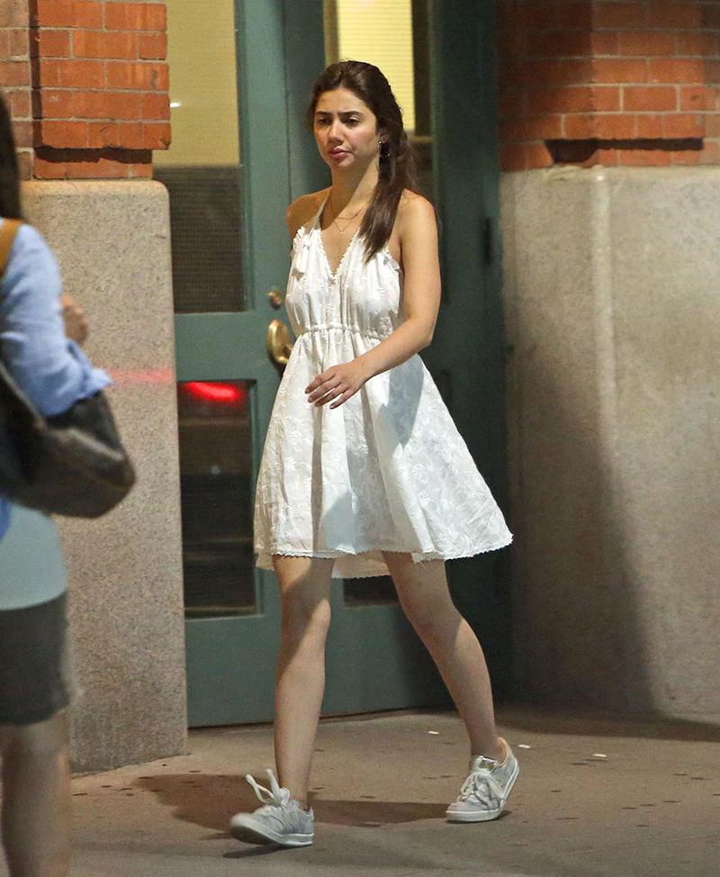 mahira khan in a short white dress