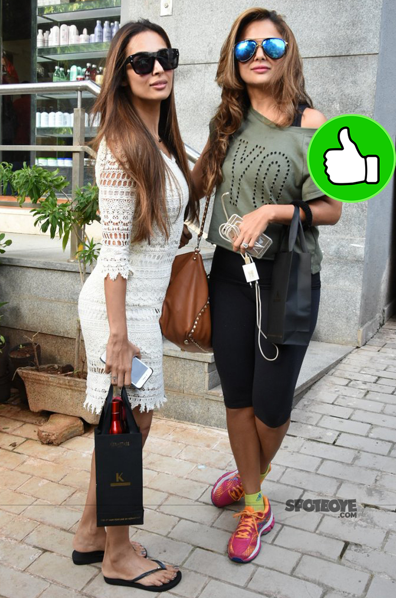 malaika arora amrita arora ladak spotted post salon session