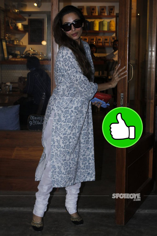 malaika arora was spotted exiting a restaurant in bandra in a desi avatar