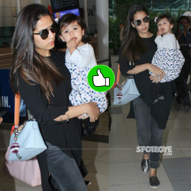 mira rajput at the airport
