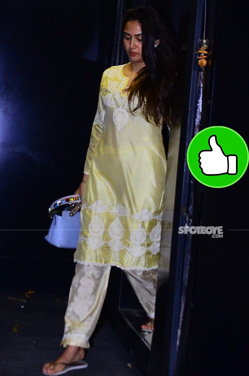 mira rajput snapped post salon session