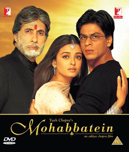 mohabbatein poster featuring amitabh bachchan shah rukh khan and aishwarya rai bachchan