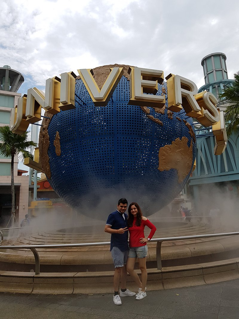 muskaan mihani and tushal sobhani at the universal studios in singapore