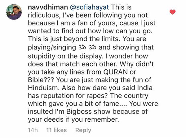 navvdhiman comments on sofia hayat video