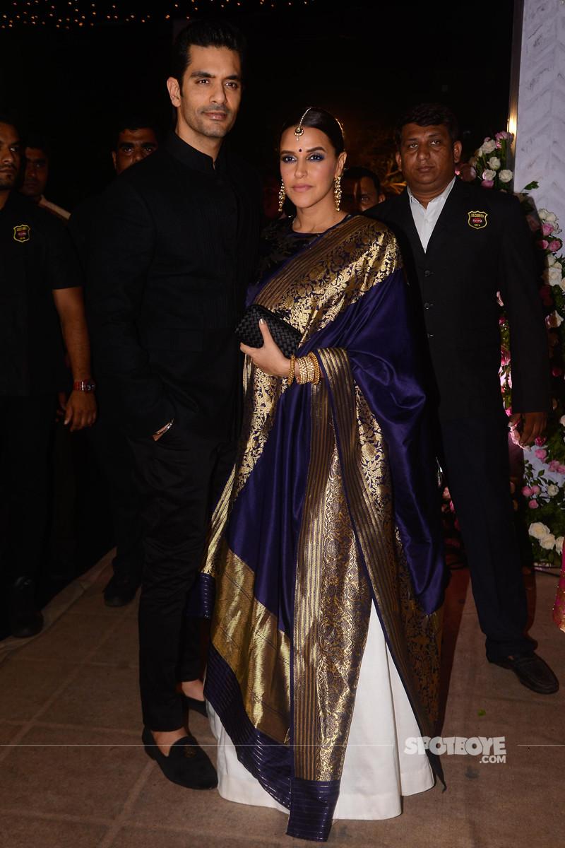 neha dhupia and angad bedi at poorna patel reception