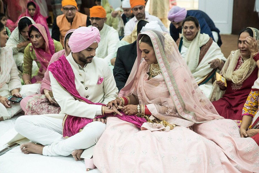 neha dhupia and angad bedi exchange their rings
