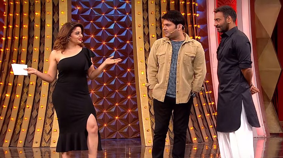 neha pendse kapil sharma and ajay devgn in family time with kapil sharma show