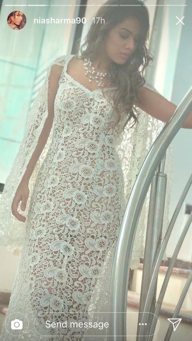 nia sharma in lacy dress