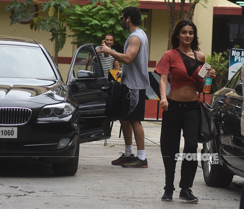 nidhhi agerwal and aditya roy kapur snapped post gym session