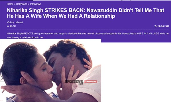 niharika singh strikes back nawazuddin didnt tell me that he has a wife when we had a relationship