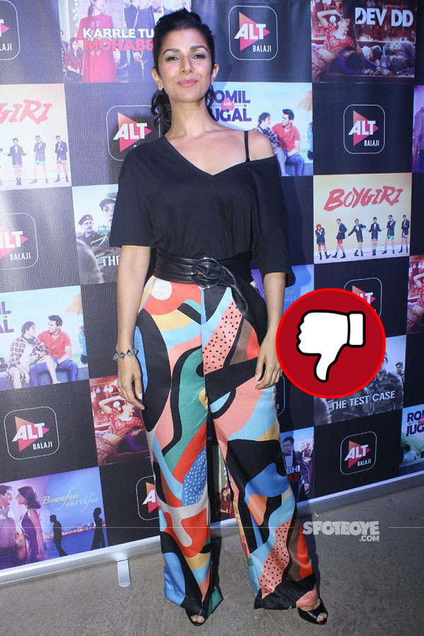 nimrat kaur disappoints in her colourful pants at the screening of her web series