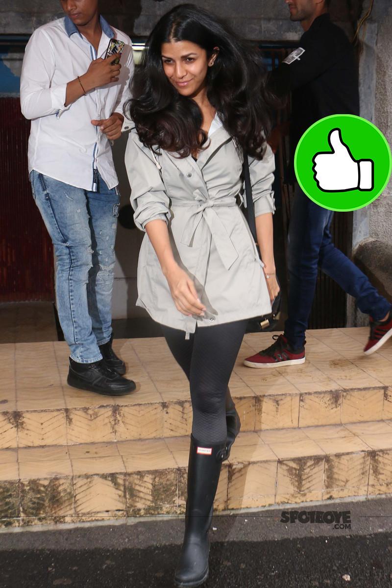 nimrat kaur is all smiles for the media