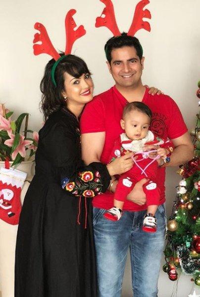 nisha rawal with husband karan mehra and baby kavish mehra