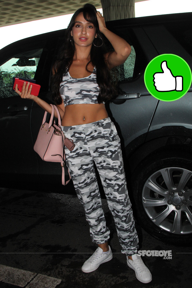 nora fatehi spotted at the airport