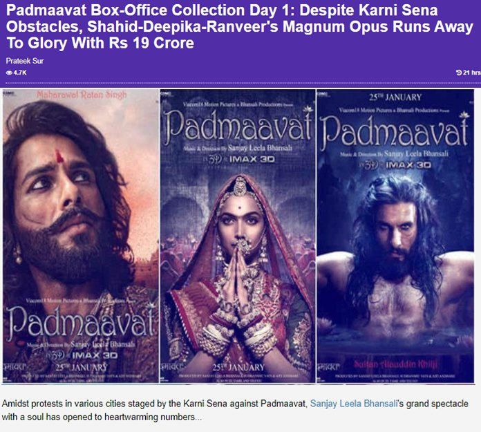 padmaavat box office day one collections
