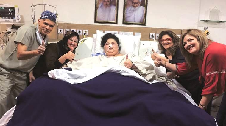 pinky roshan meets the worlds heaviest woman emaan ahmed at saifee hospital