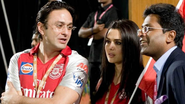 preity zinta with ness wadia and lalit modi at an ipl match