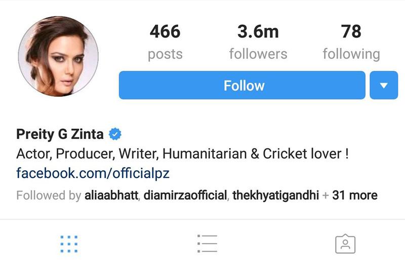 priety zinta instagram profile