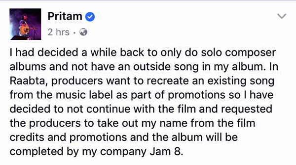 pritam facebook post about him quitting raabta