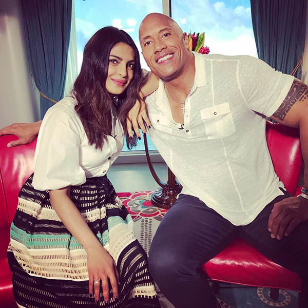 priyanka chopra and dwayne johnson snapped during baywatch promotions