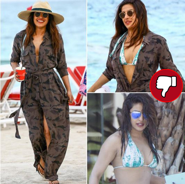 priyanka chopra in a military print overall on a bikini on a beach in miami