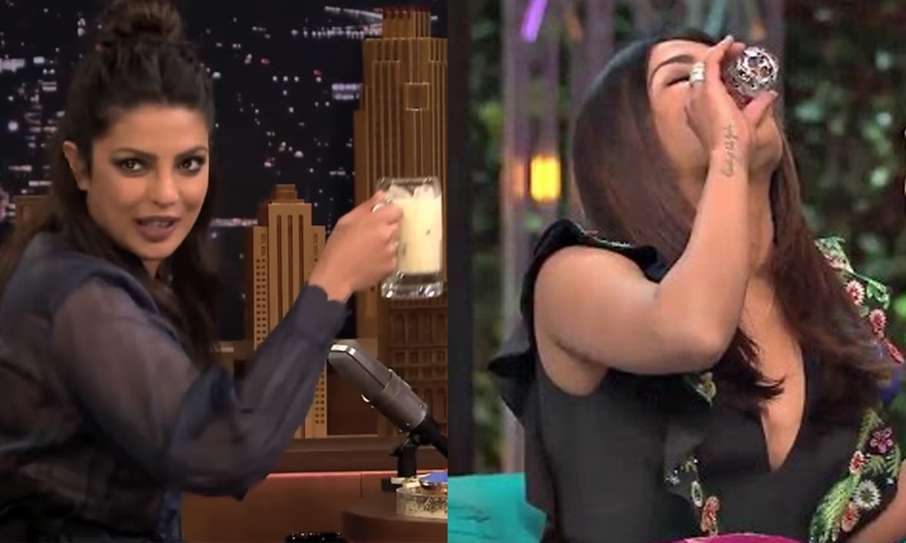 priyanka chopra having thandai and koffee shots