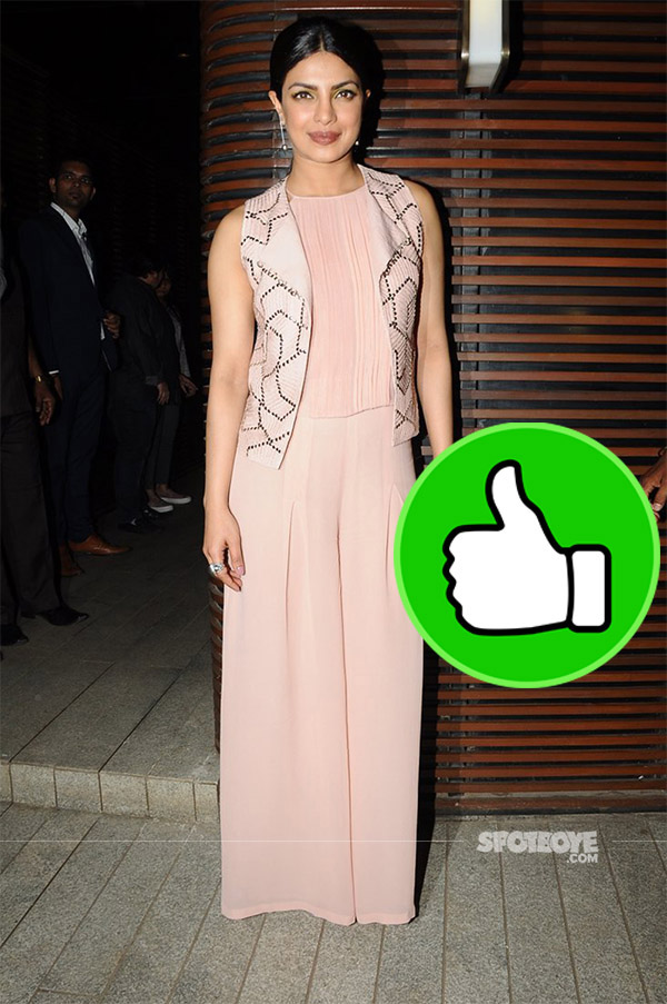 priyanka chopra snapped at ventilator success bash in a peach jumpsuit