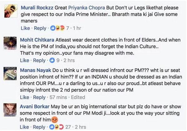 priyanka chopra trolled forshowing her legs in front of pm narendra modi