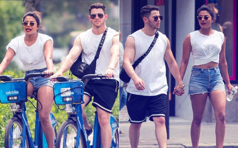 न्यूयॉर्क की सड़कों पर साइकिल चलाते हुए नज़र आए प्रियंका चोपड़ा और निक जोनस