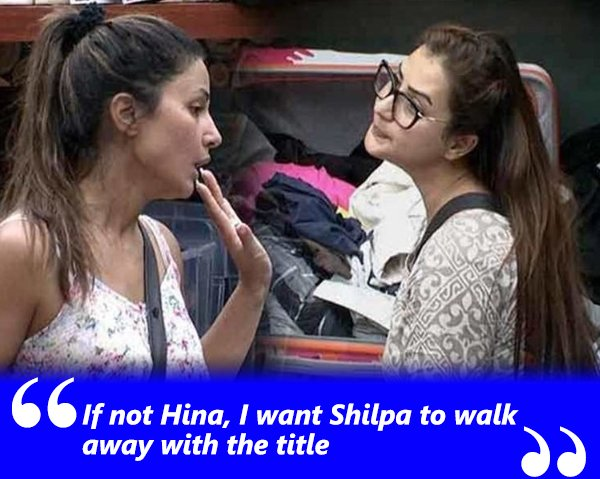 if not hina i want shilpa to walk away with the title