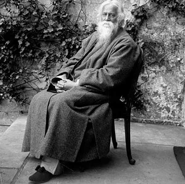 a black and white picture of rabindranath tagore