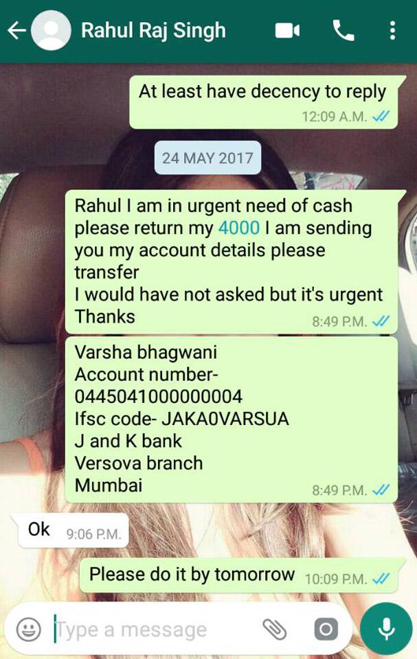 rahul raj singh whatsapp chat
