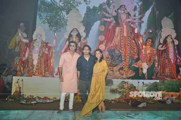 ranbir kapoor alia bhatt and ayan mukerji at the durga puja