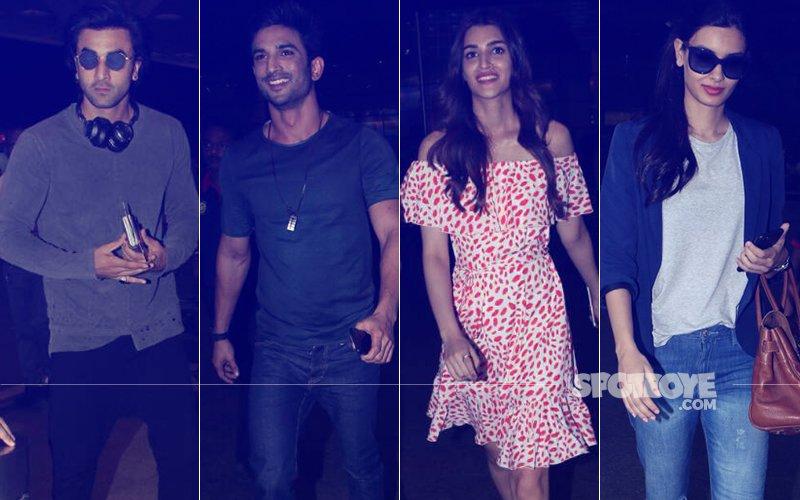 Ranbir Kapoor, Sushant Singh Rajput, Kriti Sanon & Diana Penty Spotted At The Mumbai Airport