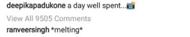 ranveer singh comment on deepika padukone instagram post