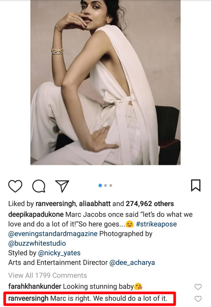 ranveer singh comment on deepika padukone picture