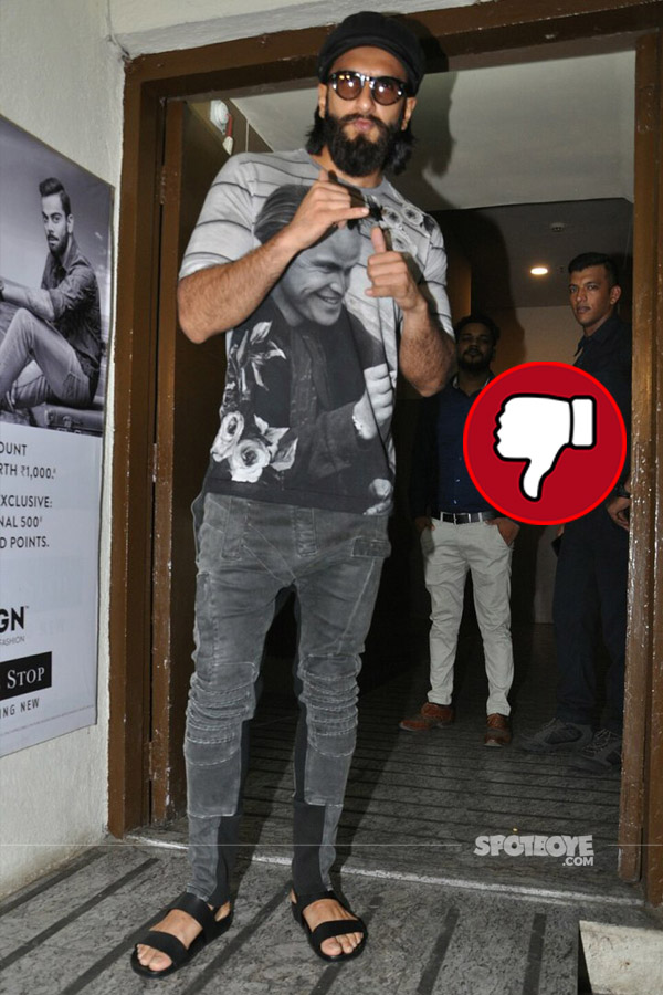 ranveer singh in a grey t-shirt and grey jeggings at pvr cinems juhu