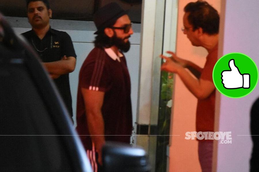 ranveer singh spotted with vidhu vinod chopra outside his residence