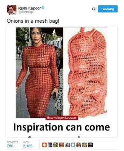 rishi kapoor compares kim kardashian dress to onions in a mesh bag