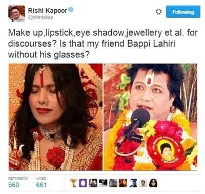 rishi kapoor tweets about bappi lahiri