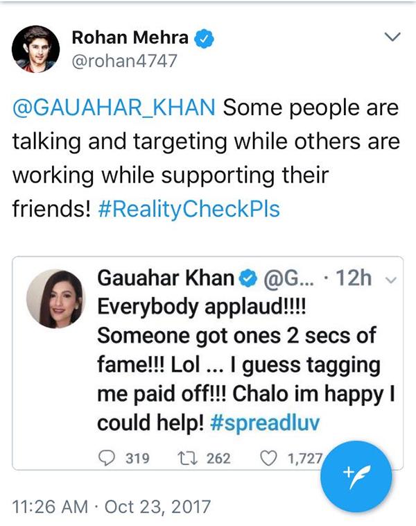 rohan mehra and gauahar khan twitter war