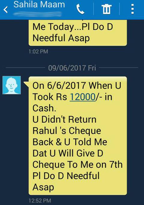 sahila chadha messages