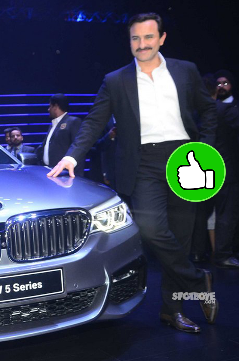 saif ali khan snapped at bmw series 5 launch