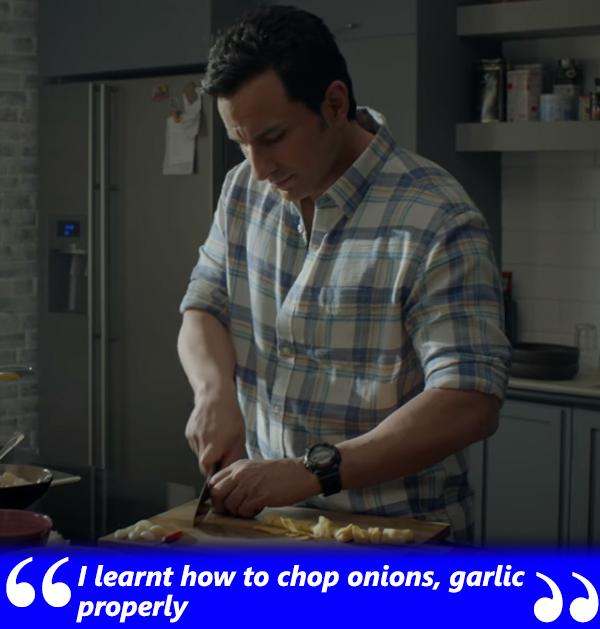 saif ali khan talks about cutting onions and garlic