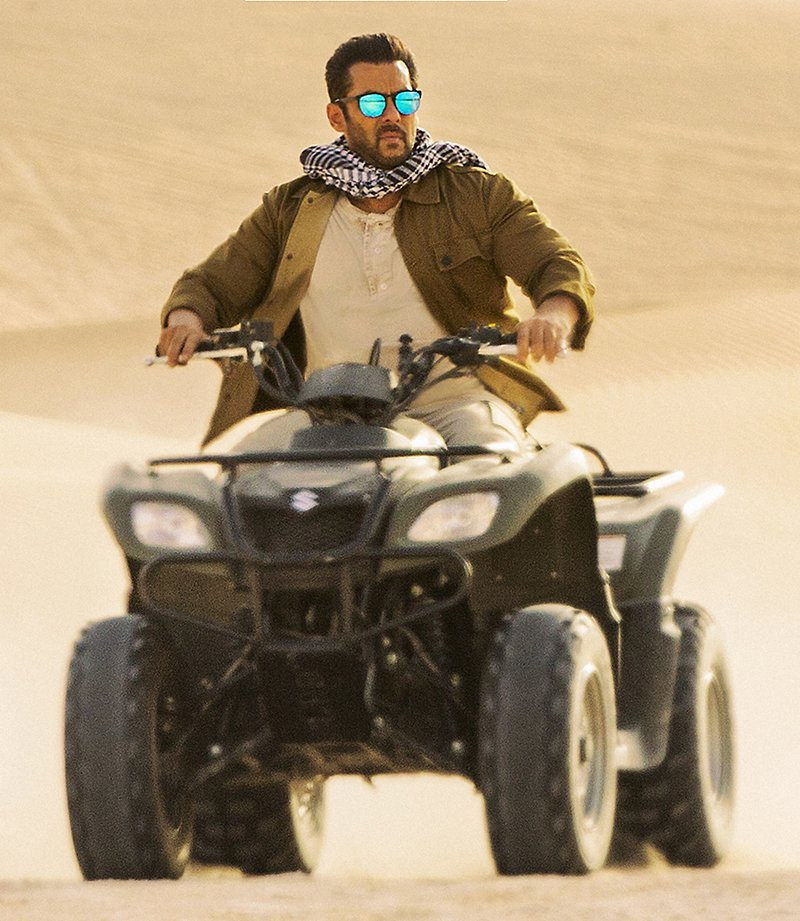 salman khan on an atv shooting for tiger zinda hai