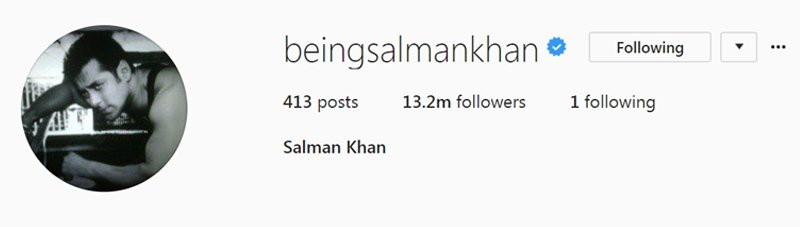 salman khans fan following on instagram