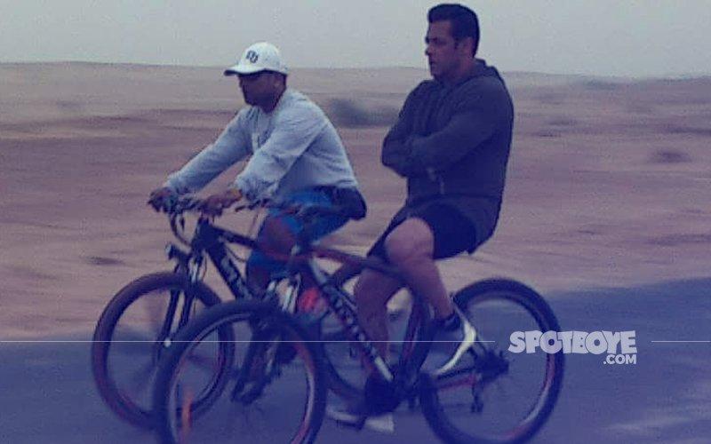 Salman Khan Enjoys Down Time Riding A Bicycle Post Race 3 Shoot