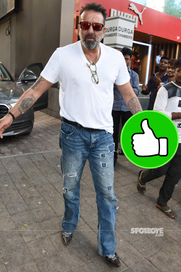 sanjay dutt impressed us in ripped jeans and a white tee posting meeting at vinesh films office