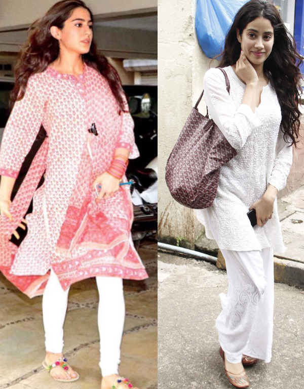 sara ali khan and jhanvi kapoor in indian outfit