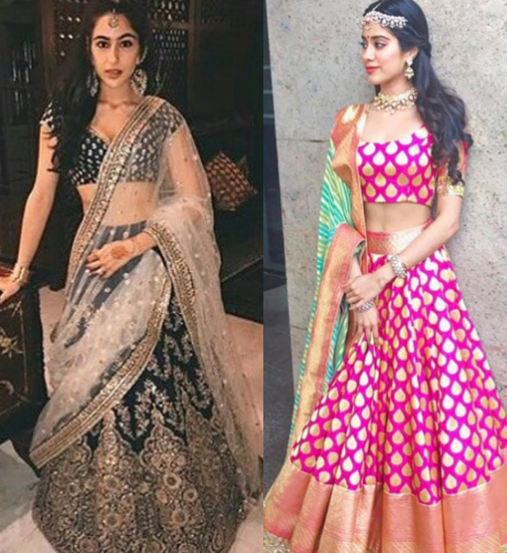 sara ali khan and jhanvi kapoor in traditional outfits